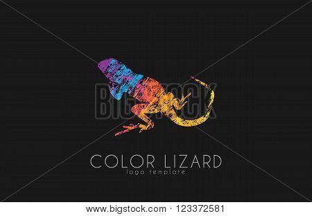 Lizard logo. Color lizard logo design. Creative logo.