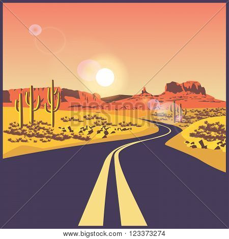 stylized vector illustration on the theme of the road travels and trip. Desert road.