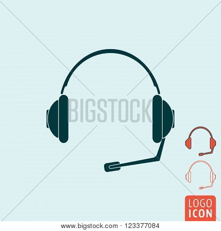 Headset icon. Headset symbol. Support symbol. Headphones with microphone icon isolated. Vector illustration