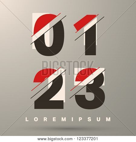 Number font template. Set of numbers 0 1 2 3 logo or icon. Vector illustration.