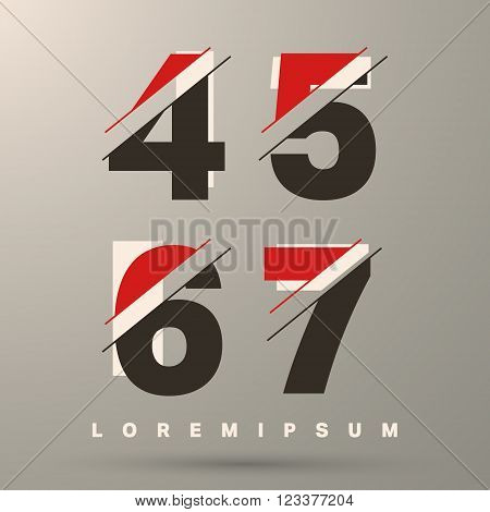 Number font template. Set of numbers 4 5 6 7 logo or icon. Vector illustration.
