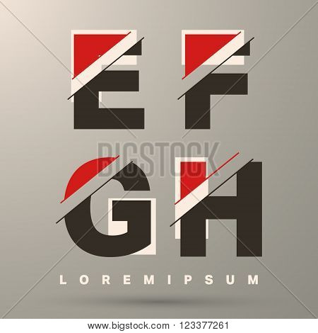 Alphabet font template. Set of letters E F G H logo or icon. Vector illustration.