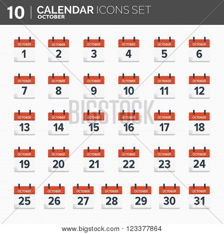 Vector illustration. Calendar icons set.  Date and time.  October.