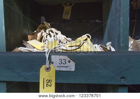 Cubby With Labels On Rope