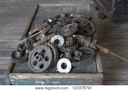 Box of gears in turn of the century silk throwing factory.