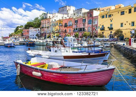 vivid beautiful Procida island, Italy poster