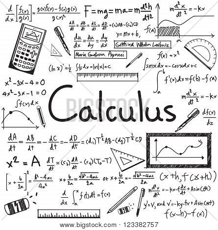 Calculus law theory and mathematical formula equation doodle handwriting icon in white isolated paper background with handdrawn model for education presentation or subject title create by vector