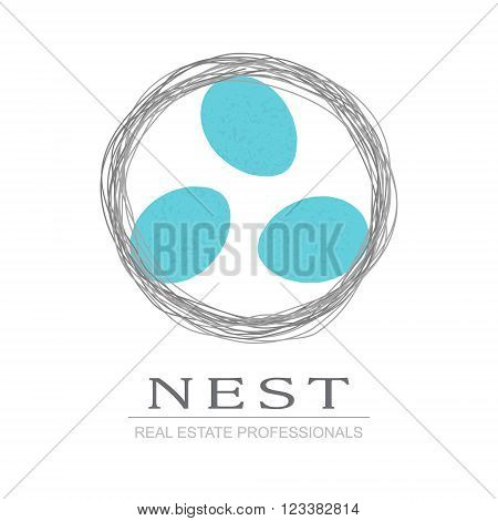 Nest with Bird Eggs. Business sign vector template for real estate agency, architecture bureau, home decor boutique, home insurance, building & renovation. Corporate web site element.