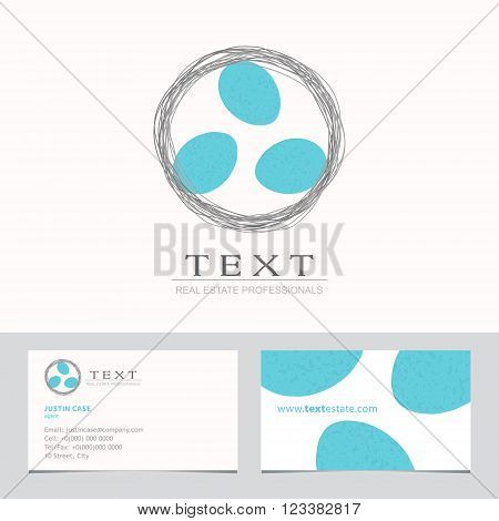 Nest with Bird Eggs. Business sign & Business card vector template for real estate agency, architecture bureau, home decor boutique, home insurance, building & renovation. Corporate web site element.
