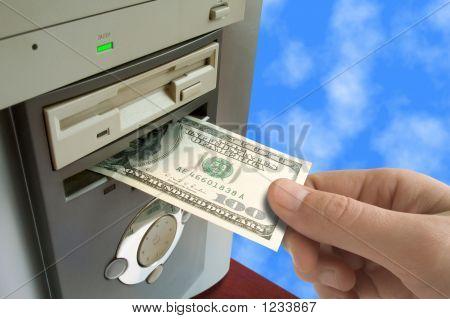 Hand Put Money To Computer