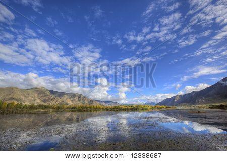 tibet: mountain, lake and treeline