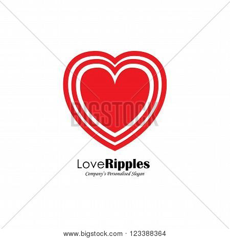 Vector Logo Icon Of Heart Shape With Ripples.