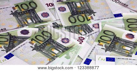 image of many europe euros banknote of hundreds
