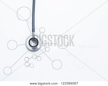 Medical stethoscope for medical on white background.