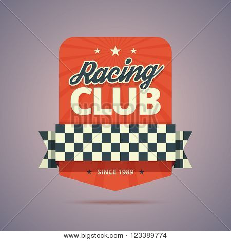 Racing club badge. Racing club emblem in retro style. Vintage colors with stars, rays, ribbon and finish flag. Vector illustration in flat style for print or web.