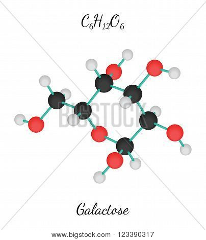 C6H12O6 Galactose 3d molecule isolated on white