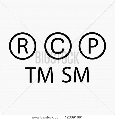 Trademark symbol. Copyright symbol. Registered symbol. Patent symbol. Precautionary labels vector set. Trademark copyright registered patent icon.