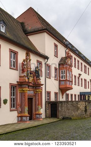 building of Episcopal Seminary in Fulda with decoration portal, Germany