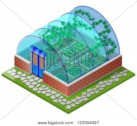 Greenhouse spring with seedling  vegetables (tomato,chilli,spinach,lettuce,radish,pumpkin,cucumber,zucchini and pepper). Isometric view. Vector illustration.