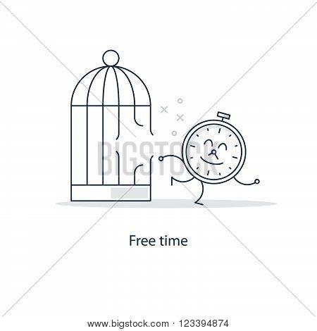Free time funny concept, linear design illustration