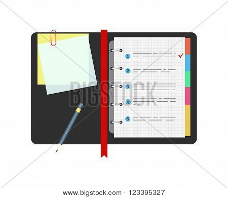 Spiral notepad notebook with to do list and pencil. Flat design.