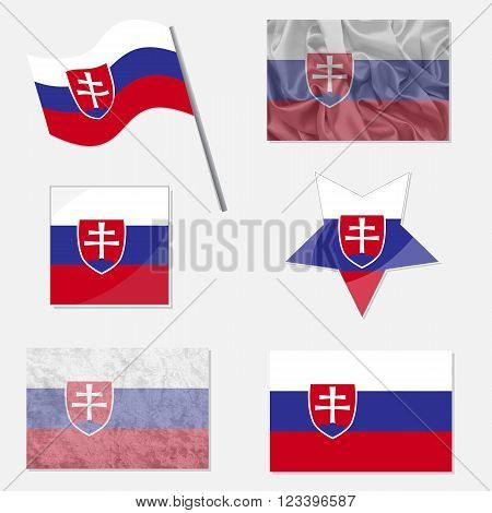 Flags of Slovakia Made in Different Variations: in Flat Design with Fabric Texture and as Web Buttons