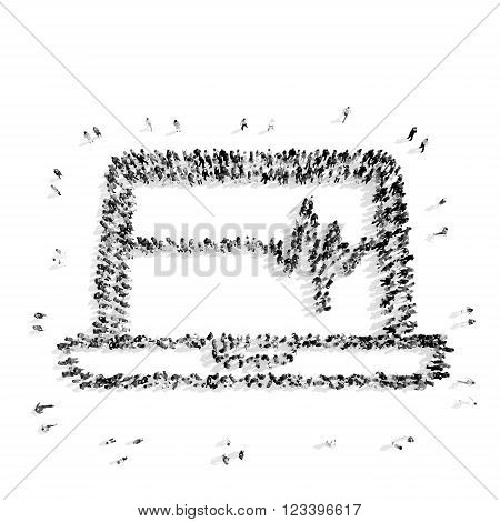 A group of people in the shape of a computer, medicine, flashmob.3D illustration.black and white