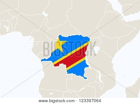Africa With Highlighted Democratic Republic Of The Congo Map.