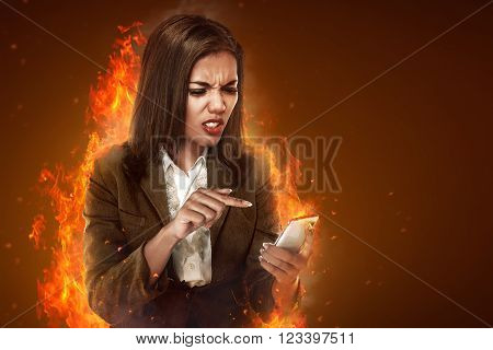 Business Woman Angry Looking Cellphone