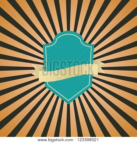 Retro vintage badge with brown sunrays background, stock vector
