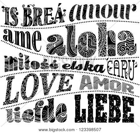 The word love in different languages, vector illustration