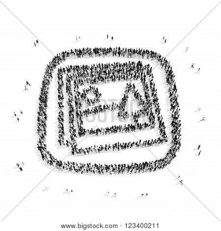 A group of people in the shape of photography, a flash mob.3D illustration.black and white
