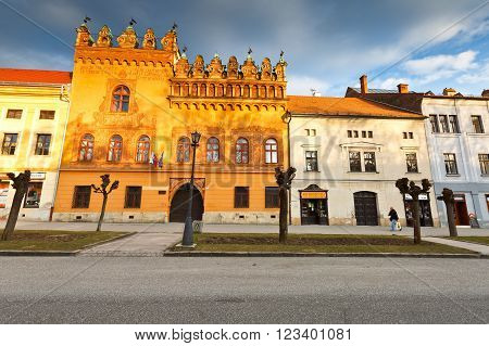 LEVOCA, SLOVAKIA - MARCH 18, 2016: Houses in the main square of UNESCO listed medieval town of Levoca in eastern Slovakia, on March 18, 2016.