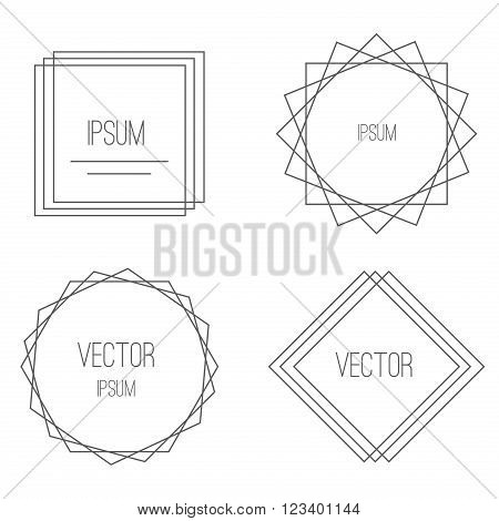 Mono line frames set and vintage mono line retro frames. Temptate mono line frames and outline decorative trendy borders. Mono line frames elegant design elements badges, vignettes vector.