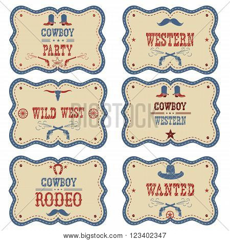 Cowboy Labels Isolated On White. Vector Western Cowboy Symbols