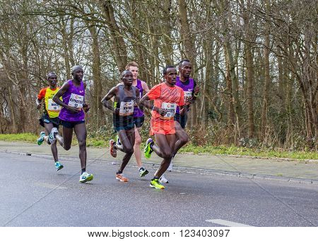The Hague the Netherlands - March 6 2016: international runners participating in The Hague CPC half marathon.