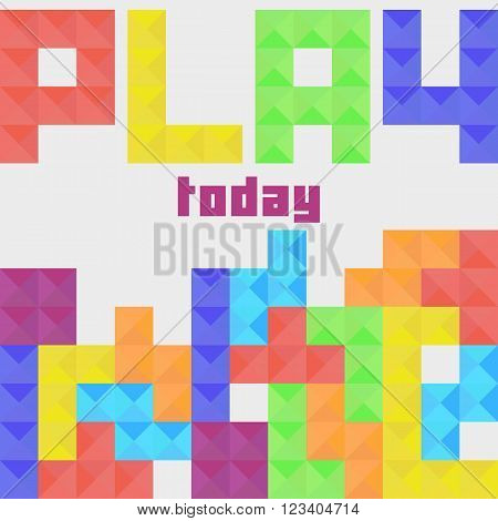 Classic game of Tetris. Colorful tetrimino pieces in row. Play today concept in flat style. Vector illustration