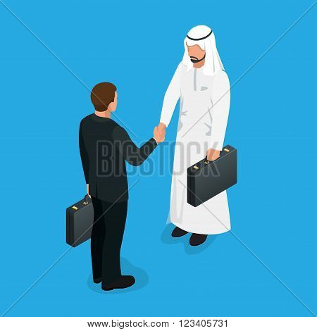 Arabian partners handshake concept. Business deal handshake with Arabic and European ethnic mans. Flat 3d vector isometric illustration