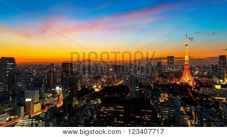 Tokyo Tower with City Scape in Twilight