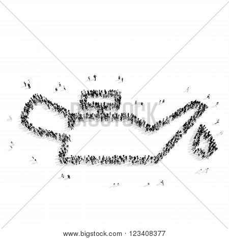 A group of people in the shape of lubricator, the car flash mob.3D illustration.black and white