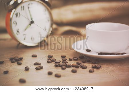 Coffee Cup Against A Rustic Background