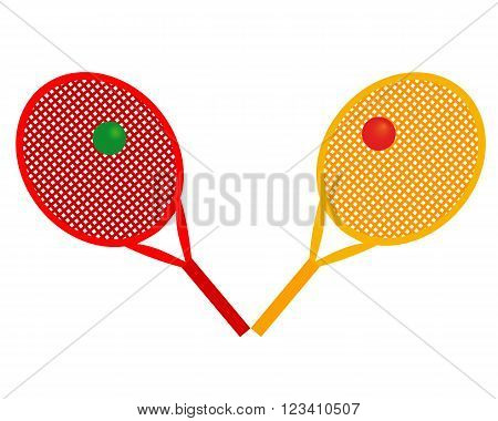 tennis rackets yellow and red colors with balls