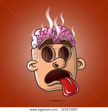 head brain burst showing tongue without eyes