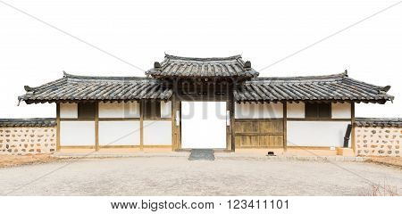 Traditional arched entrance of ancient korea building on white background.