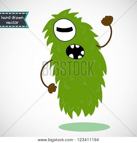 Cute cartoon angry green Cyclop doodle monster.