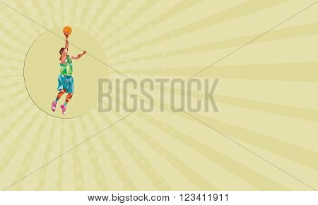 Business card showing Low polygon style illustration of a basketball player lay up rebounding ball set inside circle.