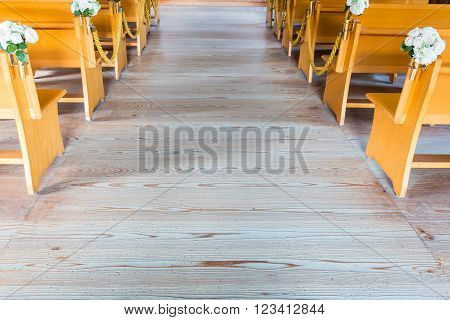 Church Interior With Empty Wooden Pews.