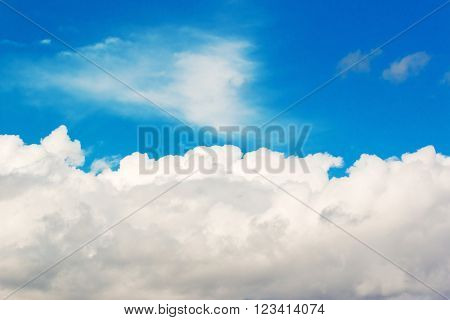 Beautiful white clouds and bright sky blue background.