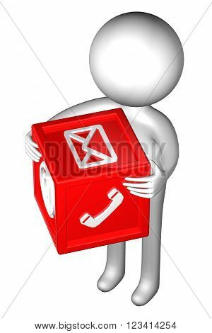 3d Man with with signs: envelope, phone, e-mail, isolated on white background. 3D render.