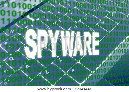 glowing Spyware text over binary text and keyboard